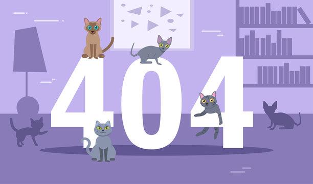 Error 404 cats Vector. Cartoon.