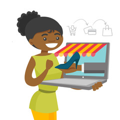 Young african-american woman doing online shopping. Happy woman making order of shoe through a laptop in virtual shop. Online shopping concept. Vector cartoon illustration isolated on white background