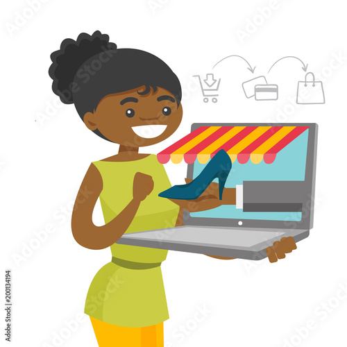 Young African American Woman Doing Online Shopping Happy Woman