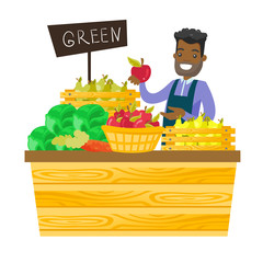 Young african-american worker of grocery store standing in the section with vegetables and fruit. Male seller offering fresh organic food. Vector cartoon illustration isolated on white background.