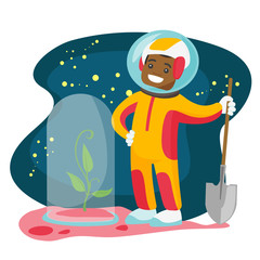 Young african-american astronaut planting a tree on a new planet. Cosmonaut with a shovel standing near newly planted tree under the hood. Vector cartoon illustration isolated on white background.