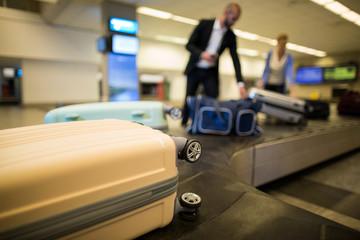 Baggages on conveyor belt