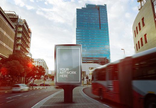 Advertising Kiosk in Middle of City Street Mockup