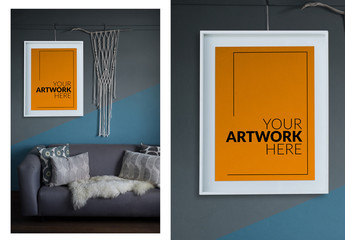 White Framed Canvas on Wall of Living Room Mockup