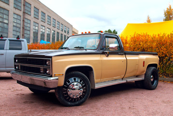 American pickup truck at the auto-show Wall mural