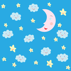 Seamless pattern with moon and clouds and stars