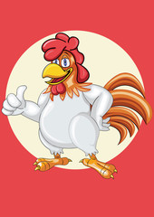 A happy  Cartoon Rooster