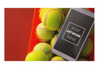 Smartphone and Tennis Balls Mockup
