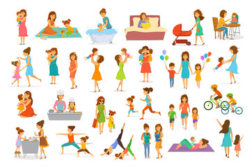cute cartoon mother and children isolated vector illustration scenes set, mom with daughter son kids baby cook, bake, play ride bike, make exercise sport run yoga dance hug kiss walk, shopping