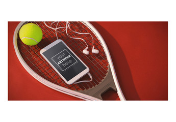 Smartphone on Tennis Racket Mockup