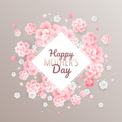Happy Mothers Day golden background with beautiful pink flowers - vector illustration