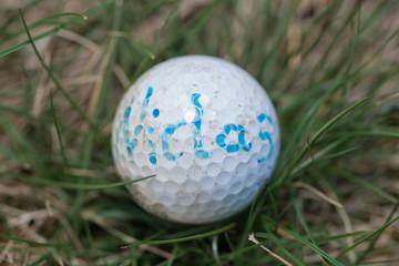 Goldball im Gras mit Aufschrift Name Niclas