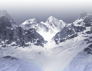 Mountain range snowy landscape with rocky mountain peaks 3d render illustration.