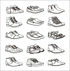 Shoes icons set. Footwear icons set. Set of shoes icons in a linear style. Collection of shoes pictograms. Shoe icons on white background. Vector illustration Eps10 file