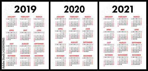 pocket calendar 2019 2020 2021 set basic simple template week starts on sunday stock image and royalty free vector files on fotoliacom pic