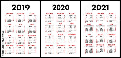 Calendar With Week Numbers 2020.Pocket Calendar 2019 2020 2021 Set Basic Simple Template Week