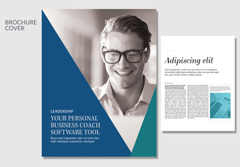 Leadership Business Brochure Layout wth Blue and Green Accents