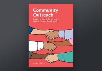 Community Outreach Poster Layout with Shaking Hands Illustration