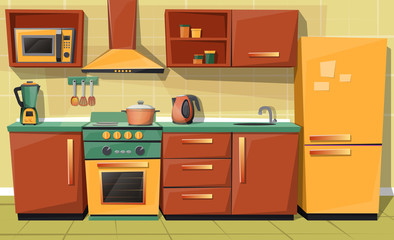 Vector cartoon set of kitchen counter with appliances - fridge, microwave oven, kettle, blender, stove with exhaust. Cupboard, furniture with utensil. Household objects, cooking room interior