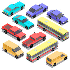 Vector set of isometric urban transportation. Cars with shadows isolated on white background. Hatchback, pickup, sedan, bus, sport, retro, van automobiles in cartoon style. Collection of city vehicles