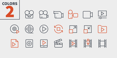 Audio Video Pixel Perfect Well-crafted Vector Thin Line Icons 48x48 Ready for 24x24 Grid for Web Graphics and Apps with Editable Stroke. Simple Minimal Pictogram Part 4