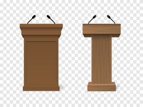 Set of Vector White Podium Tribune Rostrum Stand with Microphones Isolated