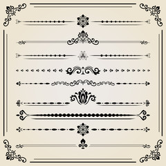 Vintage set of decorative elements. Horizontal separators in the frame. Collection of different ornaments. Classic pattern. Set of vintage patterns