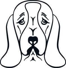 Basset hound head silhouette white