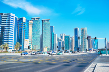 Traffic in modern Doha, Qatar