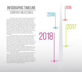 Creative vector illustration of company milestones timeline. Template with pointers. Curved road line art design with information placeholders. Abstract concept graphic element. History chart.