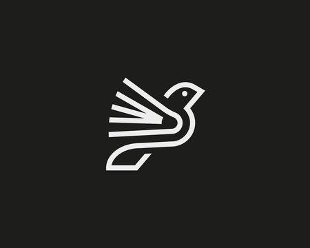 Bird book vector logotype.