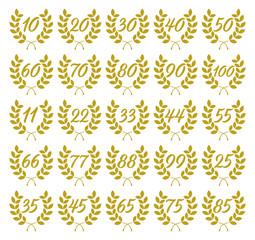 laurel wreaths with Jubilee numbers
