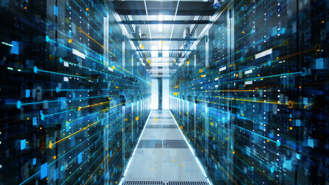 Shot of Corridor in Working Data Center Full of Rack Servers and Supercomputers with Internet connection Visualisation Projection