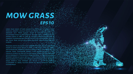 Mowing the grass from the particles. Silhouette mows the grass consists of dots and circles. Vector illustration.