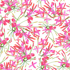 Tropical red pink  flowers seamless pattern colorful isolated ha