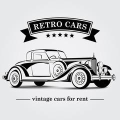 Retro Car Logo Abstract Lines. Vector illustration