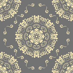 Floral round golden ornament. Seamless abstract classic background with flowers. Pattern with repeating elements