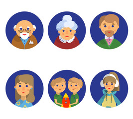 set of icons for family members