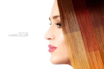 Colored hair concept. Beauty model with colorful dyed hair