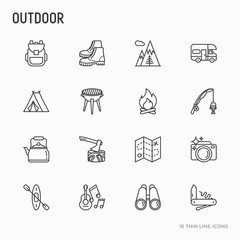 Outdoor thin line icons set: mountains, backpack, uncle boots, kettle, axe, map, swiss knife, canoe, camera, fishing rod, binoculars. Modern vector illustration.
