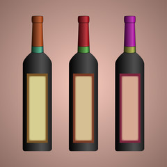 Design of a bottle for wine. A wine bottle. Capacity for alcohol. Glass containers.