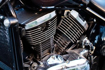 Motor bike detail - Engine block, Metal parts of motorcycle