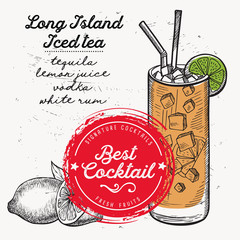 Cocktail long island for bar menu. Vector drink flyer for restaurant and cafe. Design poster with vintage hand-drawn illustrations.