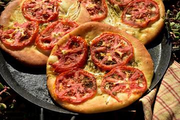 tomato foccacia bread at the seashore