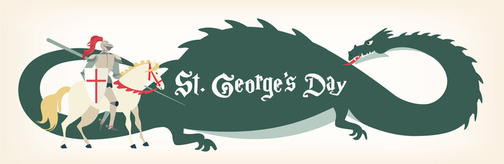 St. George s Day card with knight and dragon. Vector illustration.