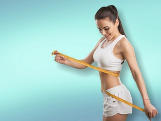 Woman and tape measure.