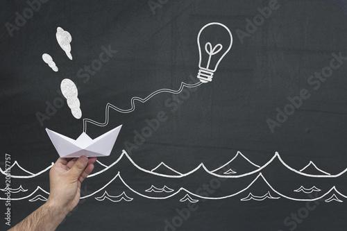 New Idea Concept Great Business Idea Making Move The Paper Ship