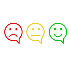 Three colored smilies, set smiley emotion. vector icon