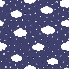 Cartoon of night sky with stars and clouds. Cute seamless pattern. Endless print for children.