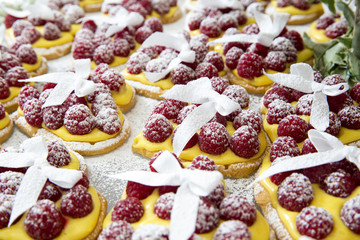 heart-shaped raspberry pies and custard
